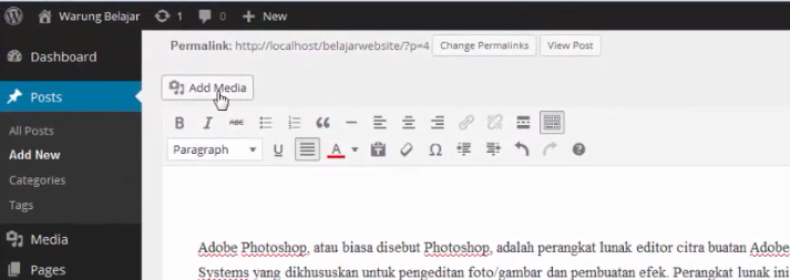 add media post wordpress