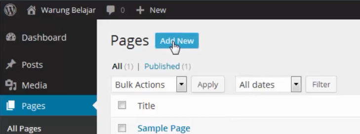 add new page wordpress
