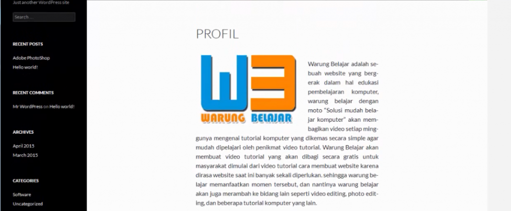 hasil page wordpress