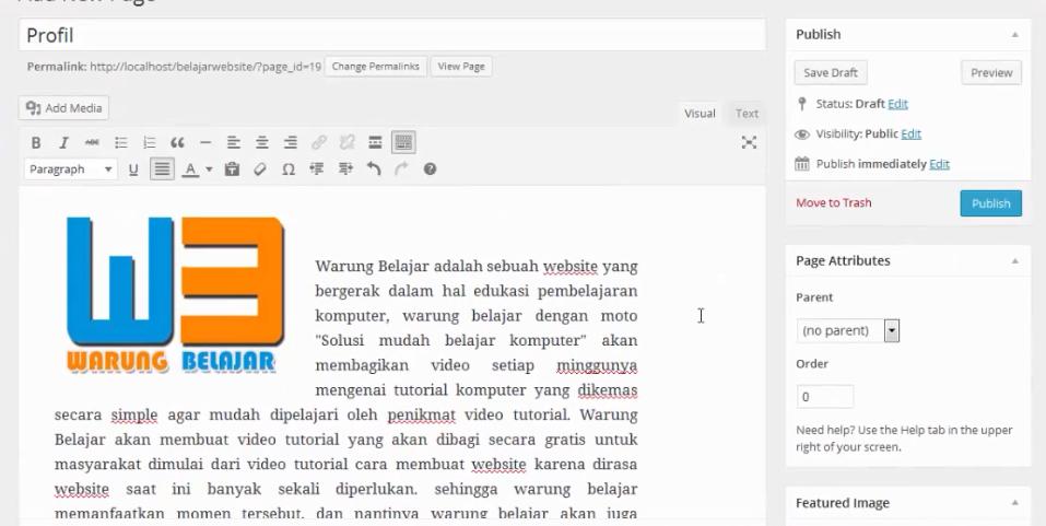 hasil pembuatan page wordpress