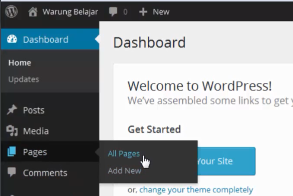 membuat page di wordpress