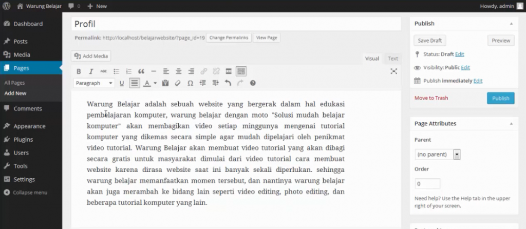 membuat page profile di wordpress