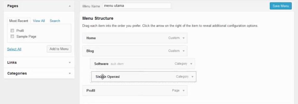 membuat sub menu wordpress