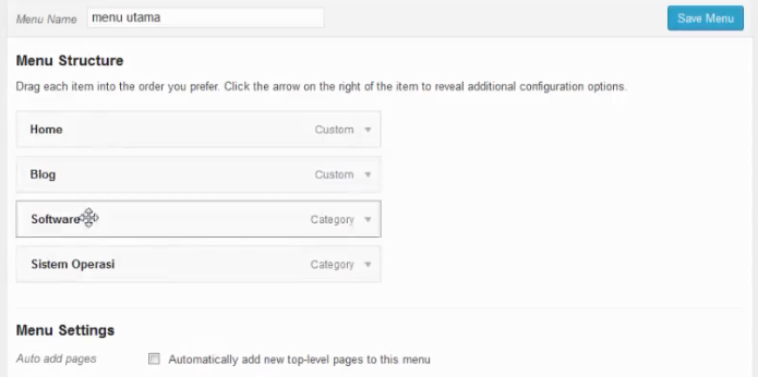menambahkan menu dalam submenu blog