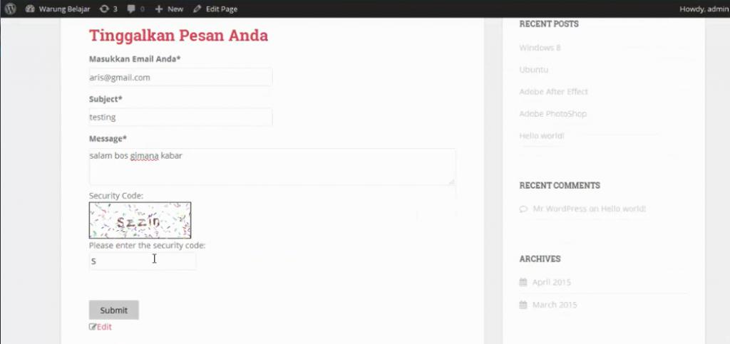 menu contact form