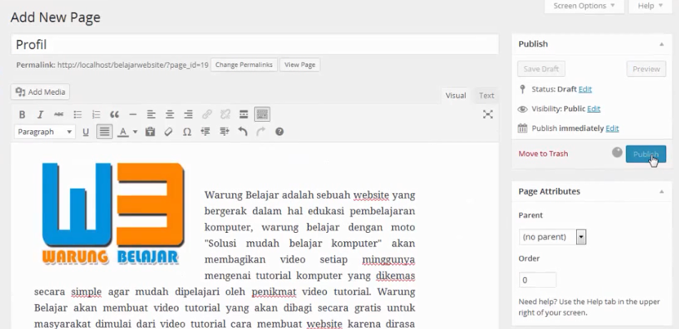publish page wordpress