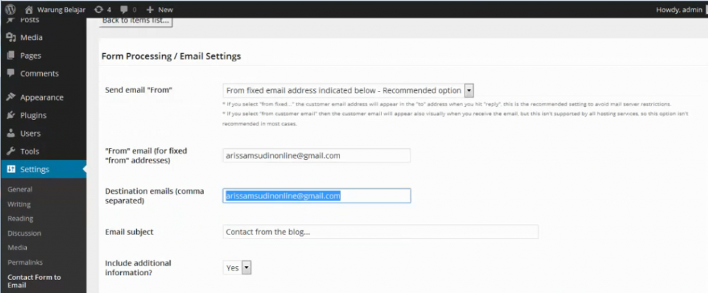 setting email contact form