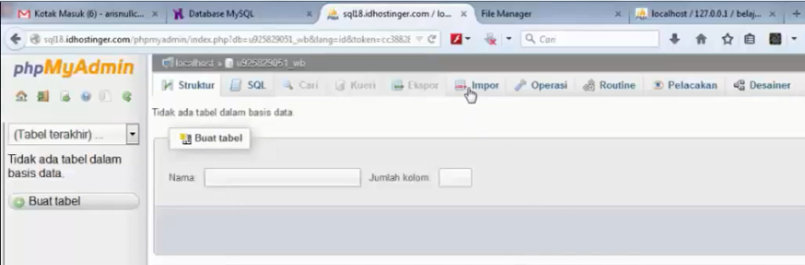 menu import database di hosting