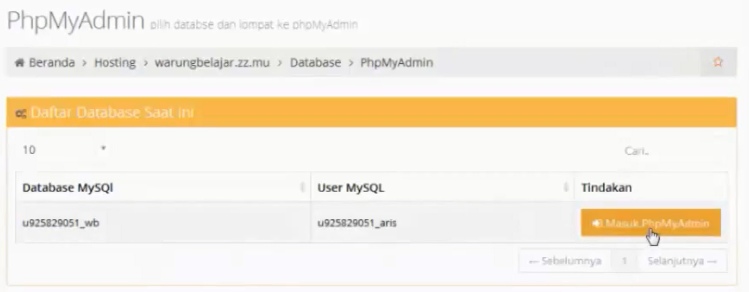 menu masuk phpmyadmin