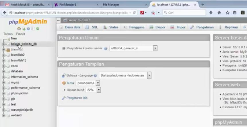 menu phpmyadmin di lokal