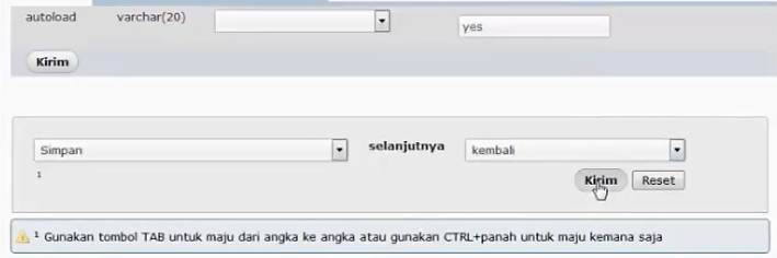 tombol update phpmyadmin