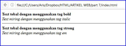 Tag text tebal dan miring HTML