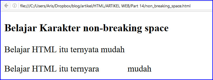 memberi spasi di html dengan non breaking space