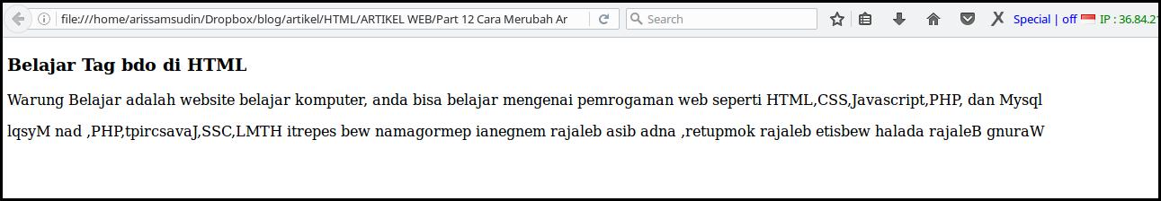 merubah arah text di html dengan tag bdo