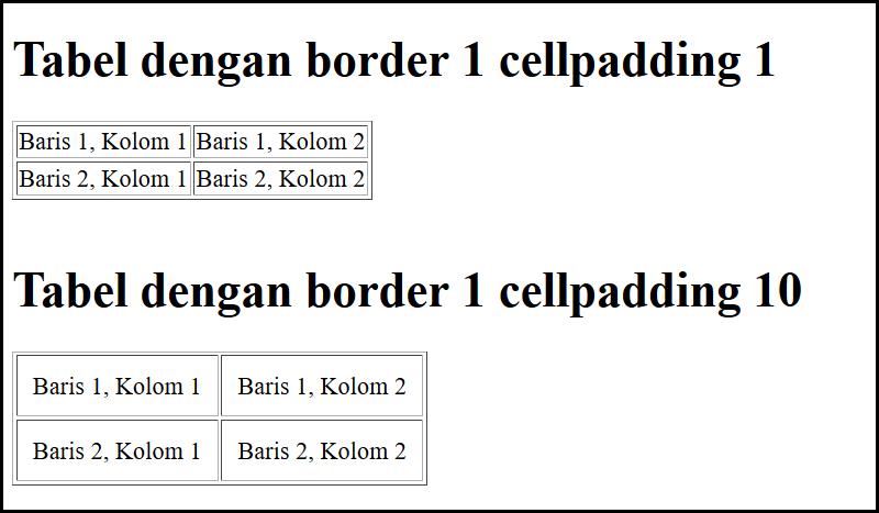 cellpadding tabel di html