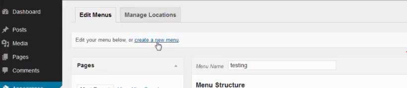 membuat menu baru wordpress