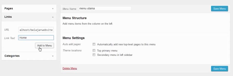 menambahkan menu home wordpress