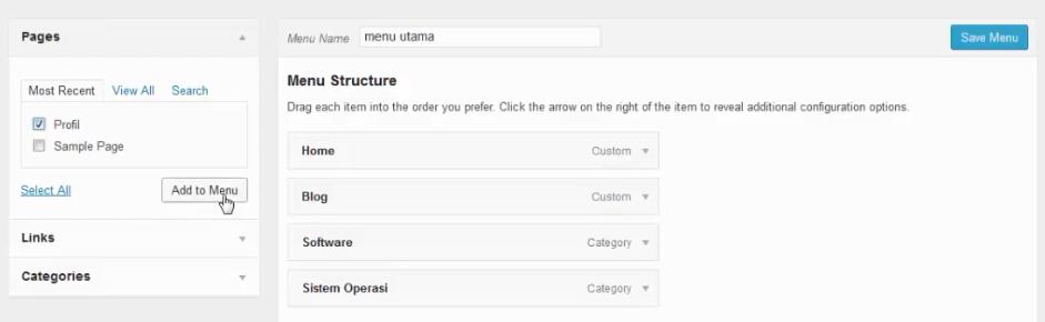 menambahkan page profiles