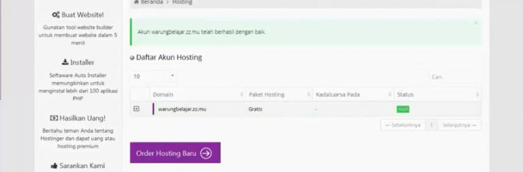 hasil generate hosting di idhostinger