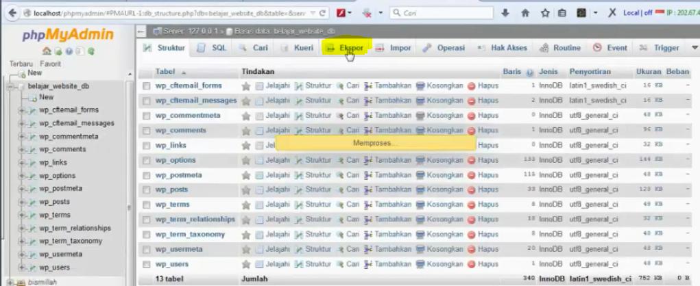 menu export di bagian phpmyadmin