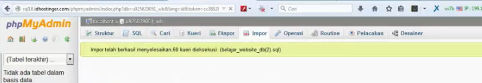notifikasi upload database selesai