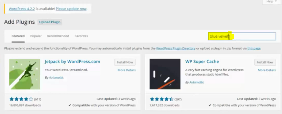 search blue velvet plugin wordpress