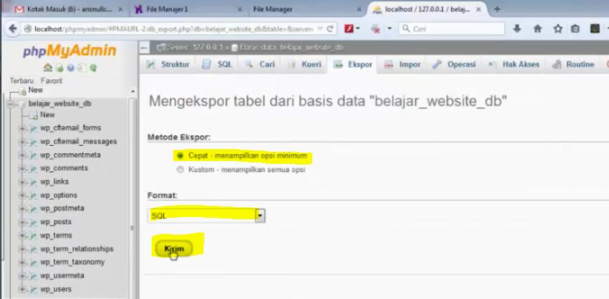 setting file yang akan di export
