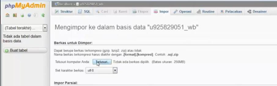 tombol telusuri database