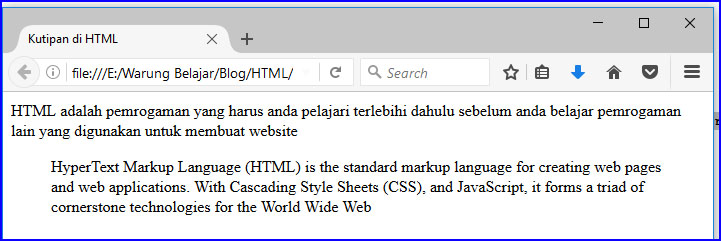 blockquote pada html