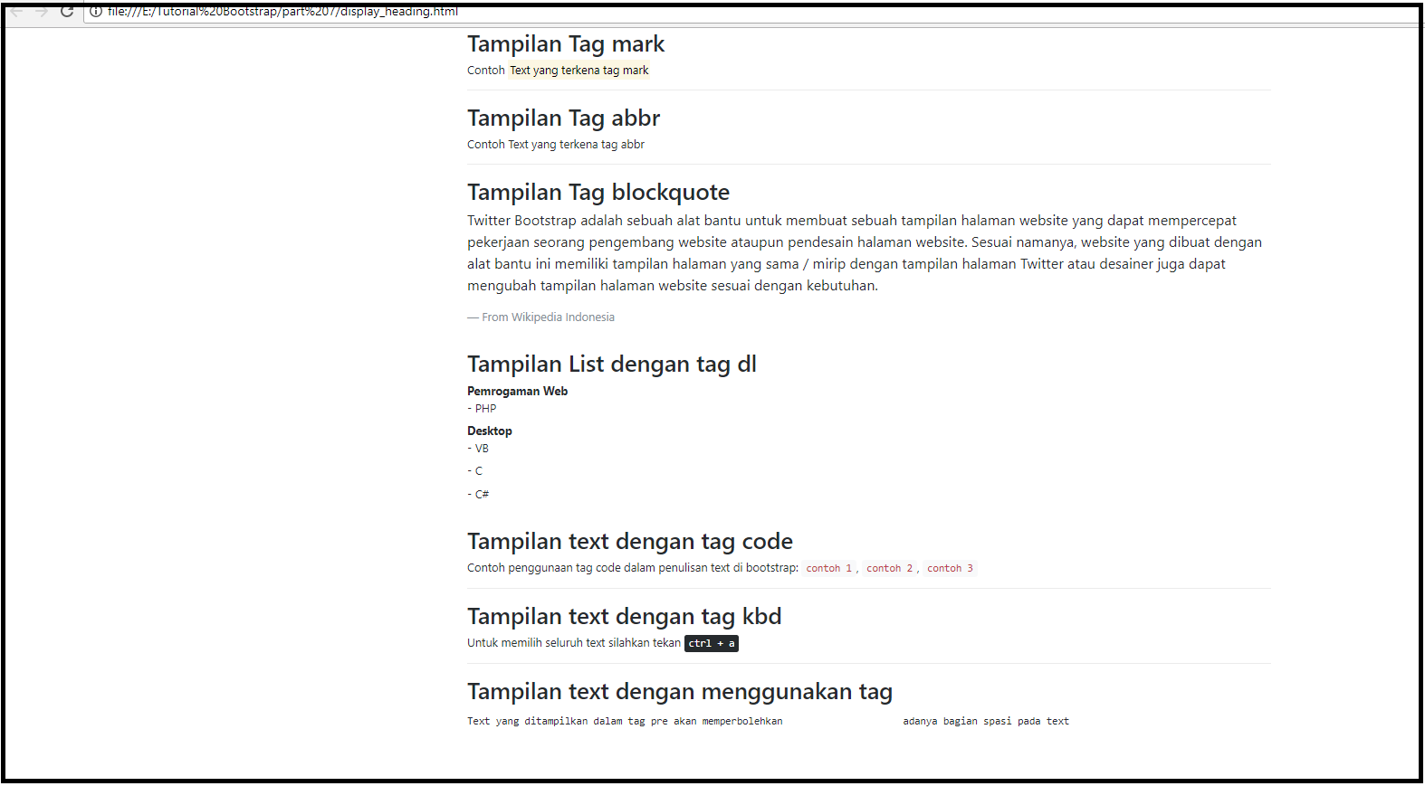 Tutorial Belajar Bootstrap 4 Part 7 Text Typography Pada Bootstrap Warung Belajar