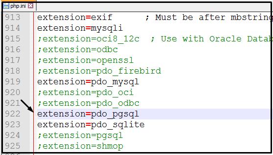 setting php.ini untuk pdo